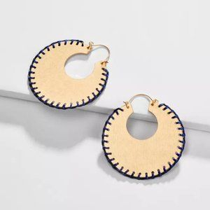 Anthropologie Big Hoop Braided Statement Earrings